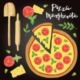 Vector illustration of Margherita Pizza with ingredients. Royalty Free Stock Photo
