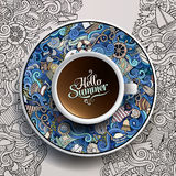 Vector illustration with a marine Cup of coffee Royalty Free Stock Photography