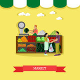 Vector illustration of market greengrocery design element in flat style Stock Images