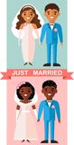 Vector illustration of a married  african american couple in love. Stock Image