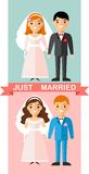 Vector illustration of a married  European couple people in love. Royalty Free Stock Photography