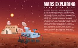 Vector illustration of Mars robot rover and colony in opened space. Vector illustration of Mars robot rover and colony in opened space Stock Photos
