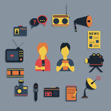 Vector illustration of Mass media journalism broadcasting news cast concept flat business icons set Royalty Free Stock Image