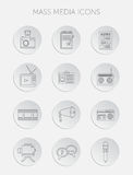 Vector illustration of Mass media journalism broadcasting news cast concept flat business icons set Stock Photography