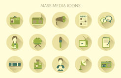 Vector illustration of Mass media journalism broadcasting news cast concept flat business icons set Royalty Free Stock Photo