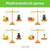 Vector illustration. Math game for kids of school and preschool. Age. Scales and weights stock illustration