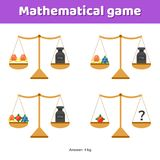 Vector illustration. Math game for kids of school and preschool. Age. Scales and weights vector illustration