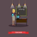 Vector illustration of mathematics teacher in flat style Stock Photography