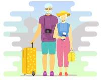 Active seniors vector flat style design illustration. Vector illustration of mature elderly couple travelling together. Active seniors flat style design element Royalty Free Stock Image