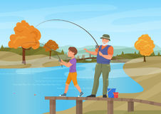 Vector illustration of mature man standing on pier with boy grandson and fishing. Autumn summer background. Stock Photography