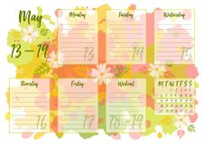 May 2019 Weekly planner Stock Photos