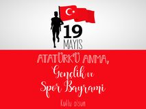 Graphic design to the Turkish holiday 19 mayis Ataturk`u Anma, Genclik ve Spor Bayrami, translation: 19 may Commemoration of Atat. Vector illustration 19 mayis Stock Photography
