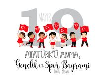 Graphic design to the Turkish holiday 19 mayis Ataturk`u Anma, Genclik ve Spor Bayrami, translation: 19 may Commemoration of Atat. Vector illustration 19 mayis Stock Photo