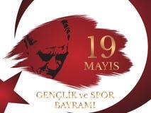 Vector Illustration 19 mayis Ataturk-` u Anma, Genclik VE Spor Bayramiz, Übersetzung: 19 können Gedenken von Ataturk, von Jugend  Stockbild