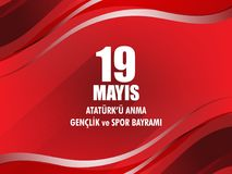 Vector illustration 19 mayis Ataturk`u Anma, Genclik ve Spor Bayramiz , translation: 19 may Commemoration of Ataturk, Youth and S. Ports Day, graphic design to Royalty Free Stock Photography