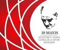 Vector illustration 19 mayis Ataturk`u Anma, Genclik ve Spor Bayramiz , translation: 19 may Commemoration of Ataturk, Youth and S stock illustration