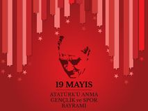 Vector illustration 19 mayis Ataturk`u Anma, Genclik ve Spor Bayramiz , translation: 19 may Commemoration of Ataturk, Youth and S. Ports Day, graphic design to Royalty Free Stock Photos
