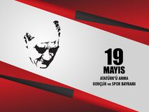 Vector illustration 19 mayis Ataturk`u Anma, Genclik ve Spor Bayramiz , translation: 19 may Commemoration of Ataturk, Youth and S. Ports Day, graphic design to Stock Photography