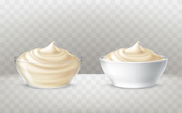 Vector illustration of mayonnaise, sour cream, sauce, sweet cream, yogurt, cosmetic cream. For face and body, swirling in a transparent and white bowl, in royalty free illustration