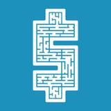 Vector illustration of maze dollar labyrinth flat Royalty Free Stock Photos