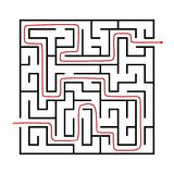 Vector illustration of Maze or Labyrinth with arrow. Vector illustration of Maze or Labyrinth  on brown background Stock Photography