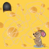 Vector Illustration of  Maze or Labyrinth Game with Funny Mouse Royalty Free Stock Photo