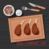 Vector Illustration of Meal of Carnivore Diet. Vector Illustration of M Meal of Carnivore Diet. Healthy Nutrition Concept for Meat Lovers. Great for Poster stock illustration