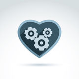 Vector illustration of a mechanical heart. Love machine icon. Ge. Ars and moving parts placed in a heart Stock Photography