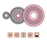 Gear wheels transmit power and motion between rotating shafts. Vector illustration of mechanical transmission Royalty Free Stock Photos
