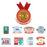 Vector illustration of medical emblem vintage tag for first aid healthcare and pharmacy medicine. Emergency ambulance hospital quality sign Royalty Free Stock Photos