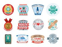 Vector illustration of medical emblem vintage tag for first aid healthcare and pharmacy medicine. Emergency ambulance hospital quality sign Stock Photography