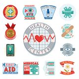 Vector illustration of medical emblem vintage tag for first aid healthcare and pharmacy medicine. Emergency ambulance hospital quality sign Stock Photo
