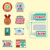 Vector illustration of medical emblem vintage tag for first aid healthcare and pharmacy medicine. Emergency ambulance hospital quality sign Royalty Free Stock Images