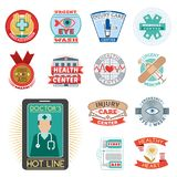 Vector illustration of medical emblem vintage tag for first aid healthcare and pharmacy medicine. Emergency ambulance hospital quality sign Royalty Free Stock Photography