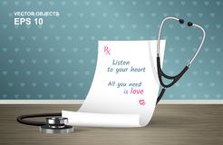 Vector illustration. Medical prescription and stethoscope on the table Royalty Free Stock Images