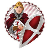Vector illustration. Medieval Knight Wearing Armor Holding a Shield and Sword. Royalty Free Stock Photo