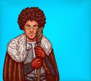 Vector illustration of medieval mage with staff. Vector cartoon illustration of medieval magician in leather armor, with fur cloak and glasses, with a magical Stock Images