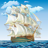 Vector illustration of a medieval sailing ship. Spanish galleon on a calm sea Vector Illustration