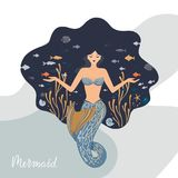 Vector illustration of a meditating mermaid with flowing hair at the bottom of the ocean with fish in her hands. royalty free illustration