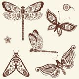 Vector illustration of mehndi ornament - butterflies, dragonflies. Traditional indian style. Ornamental floral elements for tattoo, mehndi and yoga and prints Royalty Free Stock Images