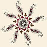 Vector illustration of mehndi ornament. Traditional indian style, ornamental floral elements for henna tattoo, stickers Stock Image