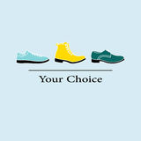 Vector illustration of men fashion shoes to choose from Stock Photos