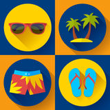 Vector Illustration of Mens articles clothing for the Summer and Beach. Stock Images