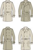 Trench coat. Vector illustration of mens double-breasted trench coat Stock Images