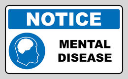 Vector illustration mental disease sign. Mandatory blue circle icon isolated on white. Notice banner for public places and web design. Simple flat style Royalty Free Stock Image