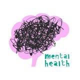 Mental health. Vector illustration. Vector illustration of mental health concept with brain stock illustration