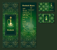 Vector illustration of a menu for a restaurant or cafe Arabian oriental cuisine with hookah, business cards. Royalty Free Stock Image