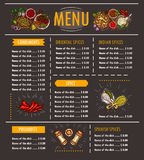 Vector illustration of a menu with a special offer of various herbs, spices, seasonings and condiments. On a black background. Template, design element for Stock Photography