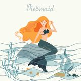 Vector illustration of a mermaid with long hair sitting at the bottom of the ocean on a stone stock illustration