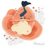 Vector illustration of a mermaid lying on the corals at the bottom. Isolated in white background stock illustration